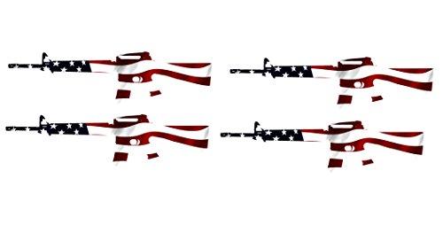 4 Pack AR-15 Rifle Gun Decal Sticker Silhouette American Flag USA Patriotic Decal Auto Bumper Sticker Vinyl Car Truck RV SUV Boat Support 2nd Amendment Military (Decal Amendment Support 2nd The)