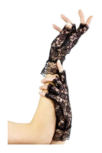 Fever Women's Fingerless Lace Gloves, One Size, Black, -