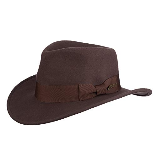 Dorfman Pacific Men's Indiana Jones Wool Felt Water Repellent Outback Fedora with Grosgrain, Brown, Medium]()