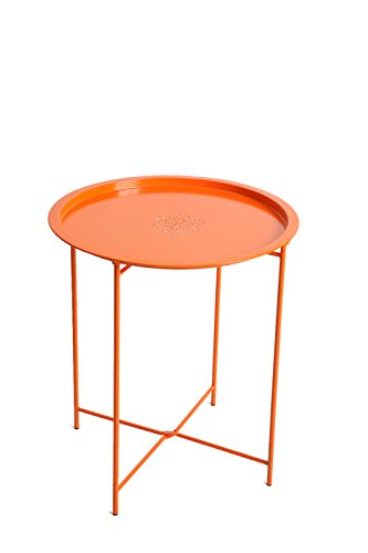 Finnhomy Small Round Tray Side Table End Table with Stamping Flower, Anti-rust Metal for Outdoor and Indoor Use, Orange (Round Metal Patio Table)