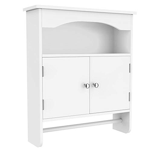 Yaheetech Bathroom Wall Cabinet Wooden Storage Organization with Double Doors, Hanging Bar and Open Storage Shelf, White