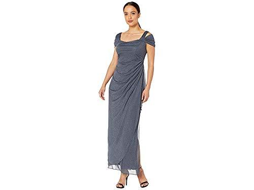 Alex Evenings Women's Long Cold Shoulder Dress (Petite and Regular Sizes), Smoke, 16