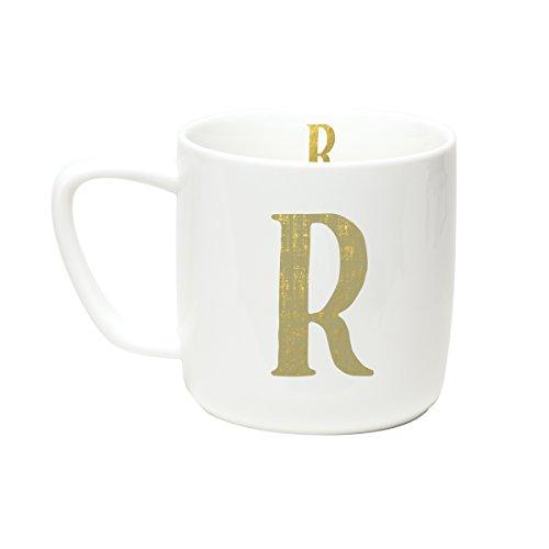 C.R. Gibson 12 ounce Porecelain Monogram Mug, Exterior & Interior Accented With Metallic Gold - R