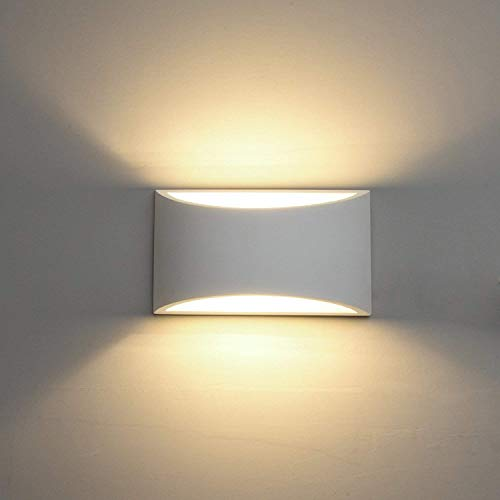Luces de pared LED Luces de lavado de pared de yeso blanco interior moderno 7W Lámpara de pared de aplique y luz blanca...