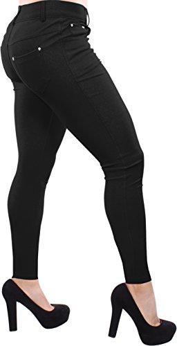 Enimay Women's Colored Jean Look Jeggings Tights Spandex Leggings Yoga Pants Black Large