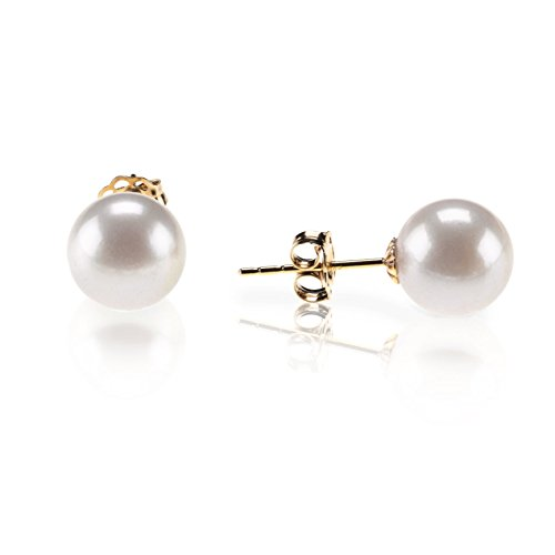 PAVOI 14K Gold AAA+ Quality Round White Cultured Akoya Pearl Earrings for Women