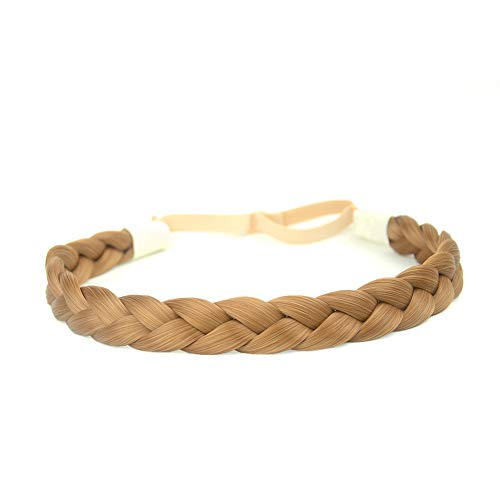 Narrow Braid - DIGUAN Synthetic Hair Braided Headband Classic Chunky Wide Plaited Braids Elastic Stretch Hairpiece Women Girl Beauty accessory, 55g aHairBeauty (#Medium Brown)