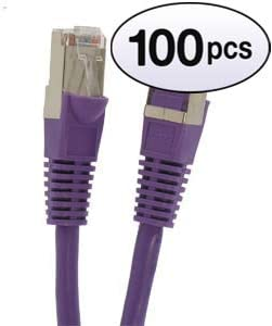 100 Feet - Purple 350MHz GOWOS Cat5e Shielded Ethernet Cable 1Gigabit//Sec High Speed LAN Internet//Patch Cable 26AWG Network Cable with Gold Plated RJ45 Snagless//Molded//Booted Connector