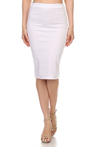 (High Waist Band Bodycon Career Office Midi Stretchy Pencil Skirt/Made in USA White 2XL)