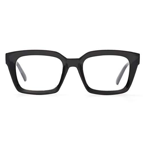 - Retro Oprah Style Square Reading Glass Big Eyeglass Frames Large lens 50mm (Black, 0.0)