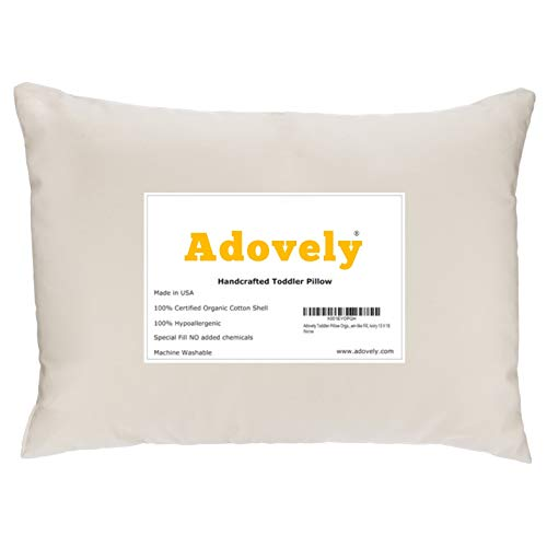 Adovely Toddler Pillow, Organic Cotton, Down-Like Filling, 13 X 18, Handcrafted in USA