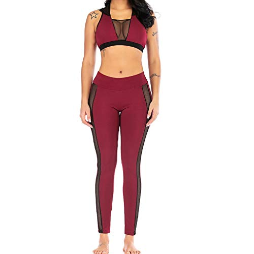 - Forthery Women Gym Yoga Sexy Lace Sports Crop Hooded Tank Top Tube Bra and High Waist Leggings Workout Suit Set 2 Pc(Red,L=US 8)