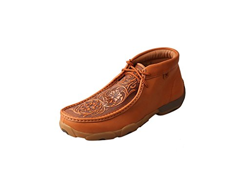 Tan Tooled - Twisted X Boots Mens Tooled Flowers Driving Moc 12 M Tan