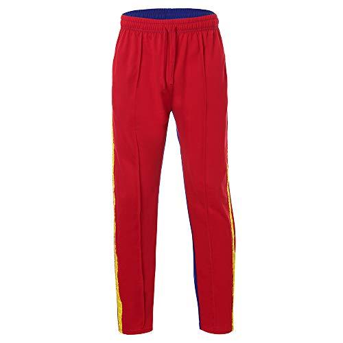 Tuta Casual Jeans Unita Sfilacciati Rosso Pantaloni Uomo Filati Moda Da Slim Completo Jogging Yunyoud Tinta Colore XpBwxqtF