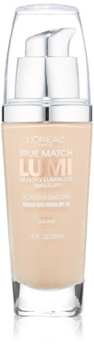 L'Oréal Paris True Match Lumi Healthy Luminous Makeup, N1-2 Soft Ivory/Classic Ivory, 1 fl. oz.