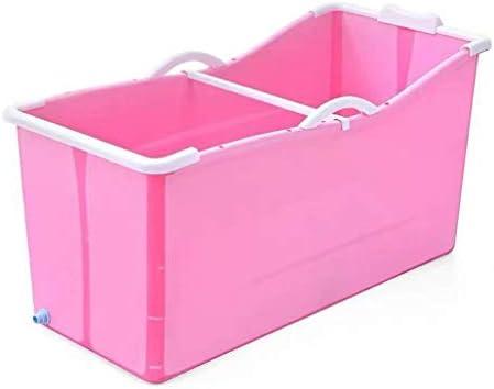 大人の折りたたみプラスチックバスタブポータブルバスタブホームスパバスタブノンスリップバレル断熱 (Color : Pink)