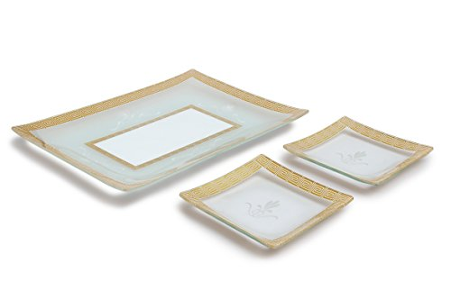 (GAC Tempered Glass Tray Rectangular Glass Platter and 2 Square Dessert Plates Glass Set of 3 Gift Pack Unbreakable - Chip Resistant - Oven/Microwave Safe - Dishwasher Safe Decorative Plate)