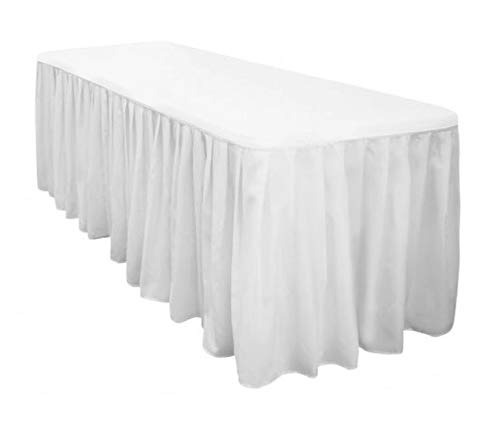 Urban Bed Polyester 5ft Rectangle Fitted White Tablecloth with Pleated Table Skirt for Party Table Decoration, Banquet Tablecloth, Wedding Tablecloths (L60 x H29) ()