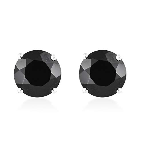 Sterling Silver Round Black Spinel Stud Solitaire Earrings for Women Jewelry Gift