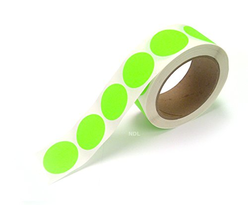 1.5'' Circle Blank Color Stickers, Writable Surface – 500 Permanent Labels per Roll, on a 3'' Core (GREEN Fluorescent) by Next Day Labels