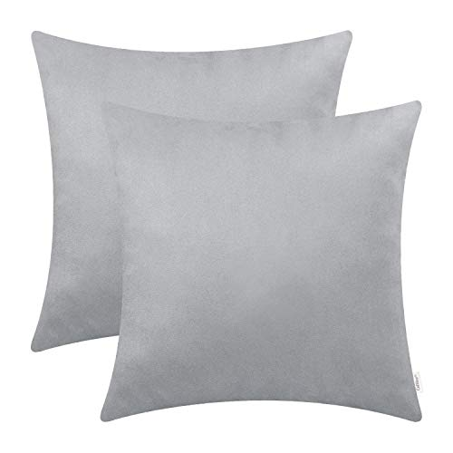 CaliTime Pack of 2 Cozy Throw Pillow Covers Cases for Couch Bed Sofa Super Soft Faux Suede Solid Color Both Sides 18 X 18 inches Silver Gray