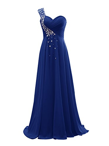 Tideclothes One Shoulder Chiffon Prom Evening Dress Long Bridesmaid Dress with Beads Royal Blue US8 (Big Poofy Dresses)
