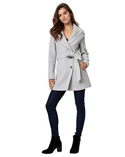 (LE CHÂTEAU Wool Blend Belted Coat,L,Grey)