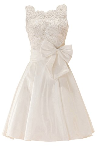 GEORGE BRIDE White Taffeta Straps With Beaded Lace and Bows Short Prom Dress