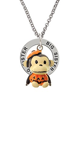 [Resin Monkey in Pumpkin Costume - Big Sister Affirmation Ring Necklace] (Sorority Sisters Costume)