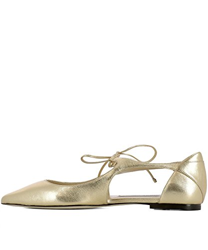 Jimmy Choo Women's VANESSAFLATMEASHINYGOLD Gold Leather Flats IEnGbdz