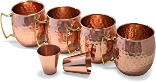 Owl Creek Handmade Moscow Mule Copper Mugs, Set of four 18 oz Hammered Cups and two 2 oz Copper Shot Glasses