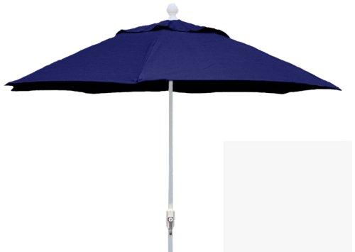 FiberBuilt Umbrellas Patio Umbrella, 9 Foot Navy Canopy and White Pole