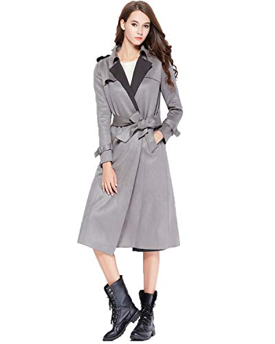 Fitaylor Women Suede Trench Coats Lapel Belted Duster Long Jacket (M, Gray Blue)