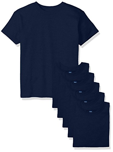 Hanes Big Boys' Comfortsoft T-Shirt (Pack of 6), Navy, ()