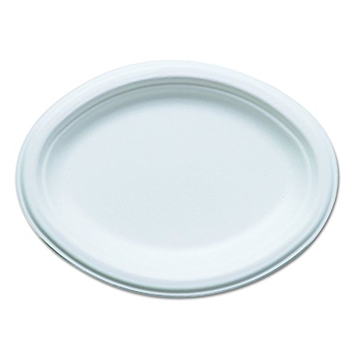Eco-Products EPP009 Renewable & Compostable Sugarcane Plates, Oval - 10
