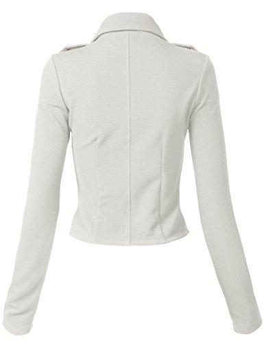 Luna Flower Women's Stylish Long Sleeve Double Zip Moto Jackets OFFWHITE Large (GJAW136) by Luna Flower (Image #1)