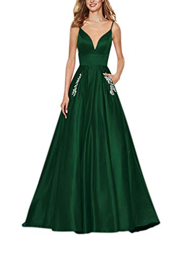 Yangprom Women's Long Spaghetti Straps V Neck Beaded Satin A-line Ball Gown Prom Dress with Pockets 2 Green ()
