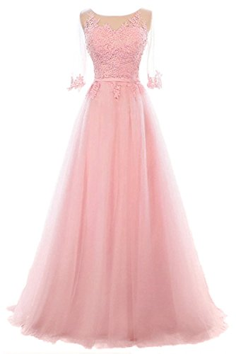 Long Formal Party Dress, Jewel Floor-Length Tulle Evening Gown for Women with Half Sleeves-Pink-4 ()