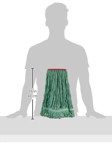 AmazonBasics Loop-End Synthetic Mop Head, 1.25-Inch Headband, Medium, Green - 6-Pack by AmazonBasics (Image #4)
