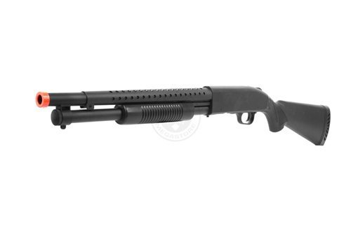 Airsoft M500 Tactical Full Stock Pump Action Spring Shotgun