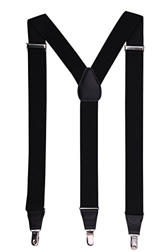 [JINIU Men's Fashion Solid Straight Clip On Cool Formal Leather Suspenders Color Black Size One Size] (Halloween Nerd Accessories)