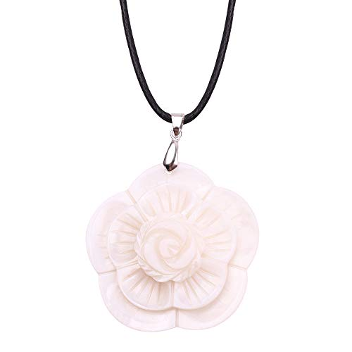 Natural Pearl Shell Flower Necklace - White Flower Pendant Necklace Sweater Chain for Women and Girls, Creative Mother