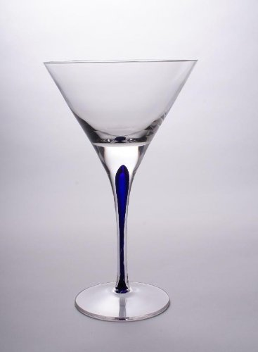 - Set Of Two (2) - Romanian Crystal Barware - Blue Stemmed Glassware - Tears And Cheers Design - 12 Oz Martini Liquor Glasses