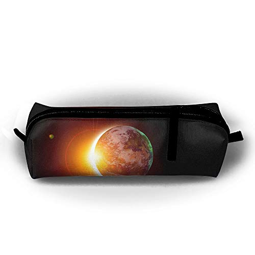 Price comparison product image D-MUSE Students Stationery Pencil Bag Pen Holder Solar Eclipse Sun Portable Cosmetic Pouch Coins Purse School Office Accessories Case