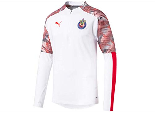 PUMA Men's Standard Chivas 1/4 Zip Top, Whitepuma Red, M