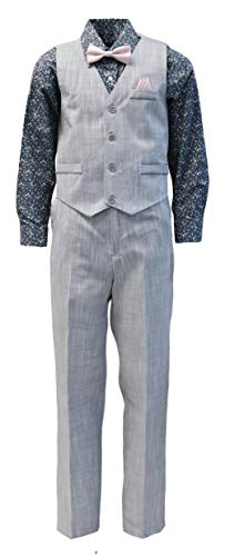 (Vittorino Boy's Linen Look 4 Piece Suit Set with Vest Pants Shirt and Tie, Grey - Pink, 5)