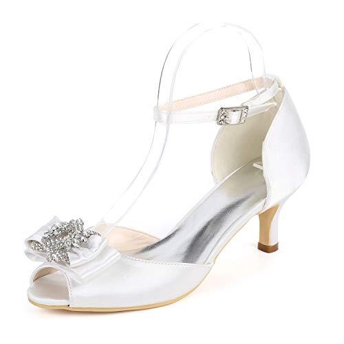 43 Kitten Cordón Altos 6cm Peep L Tacones Buckle Heel Satén Mujer White Zapatos yc De Toe 35 Boda ggvOFwq