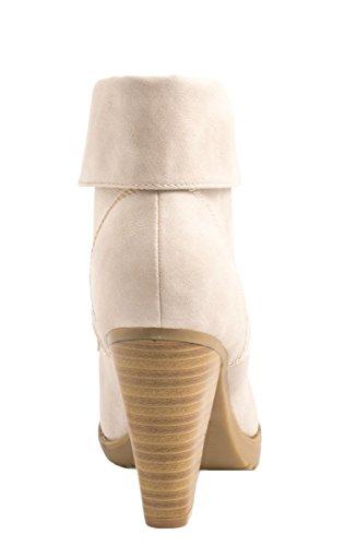 Elara Damen Stiefelette   Ankle Boots   Blockabsatz Schnürer gris