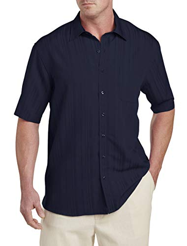 Island Passport by DXL Big and Tall Jacquard Stripe Sport Shirt, Navy ()