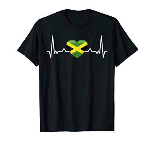 My heart beats for Jamaica - Country National Flag T-Shirt